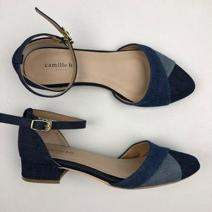 Camille Bis Denim Ankle Strap Low Heel Shoe
